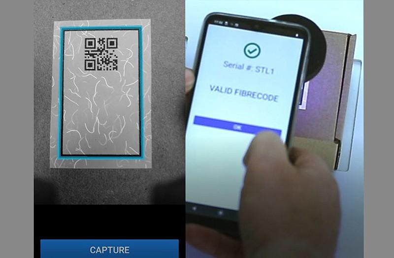 Mobile phone scanning Fibrecode.