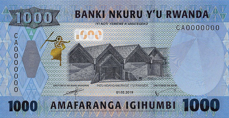 Front of the 1000 Franc note showing the Genocide Museum and an Intore Dance printed in SICPA's SPARK® Live colourshifting ink (© HVB Stiftung Geldscheinsammlung München/National Bank of Rwanda).